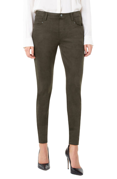 gia glider skinny pull on microsuede pant