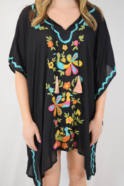 hand embroidered bird cover up