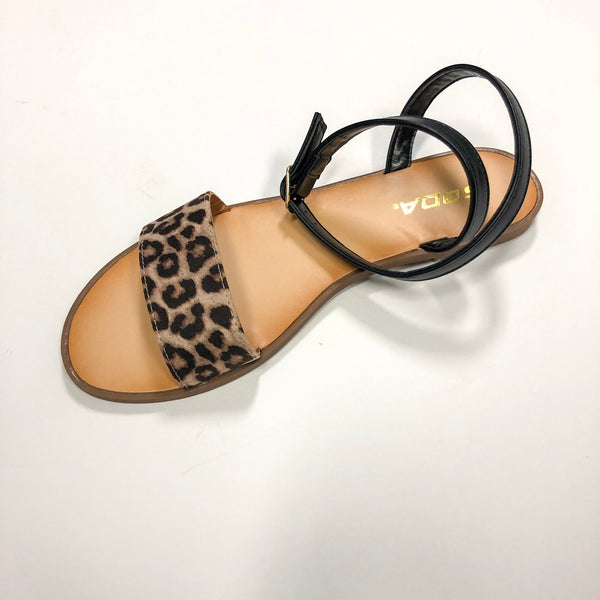 relief strappy cheetah sandal