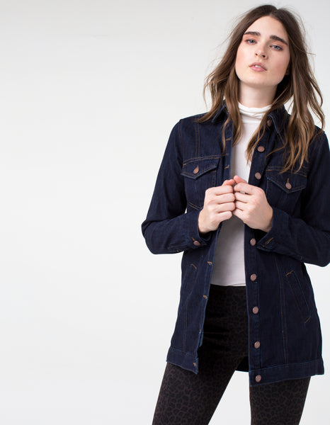 Hi-Low denim Shirt Jacket
