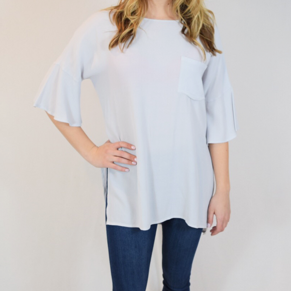 crepe top with pocket detail