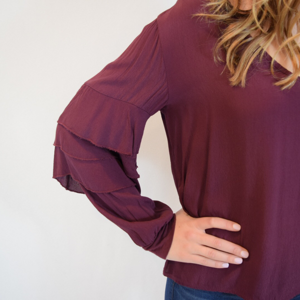 v neck top with frill sleeve