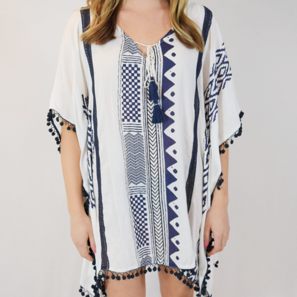 block print pom pom cover up with tie