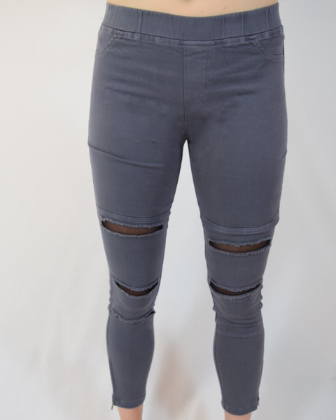 High waisted pull on legging with rips and mesh