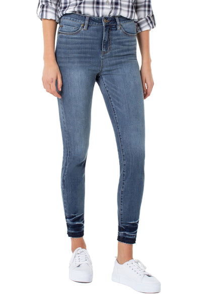 abby high rise ankle skinny jean with released hem