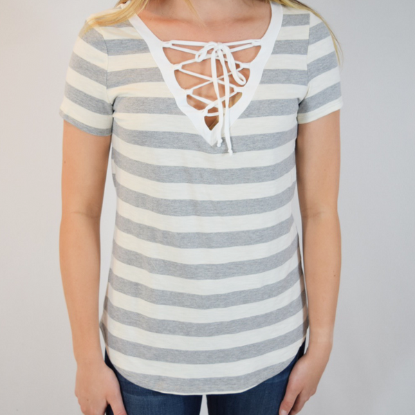 striped tie up tee