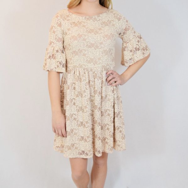 bell sleeve crochet dress