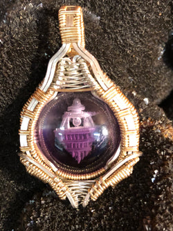 "Artisan crafted Amethyst Intaglio ""Spirit Temple"" Pendant"