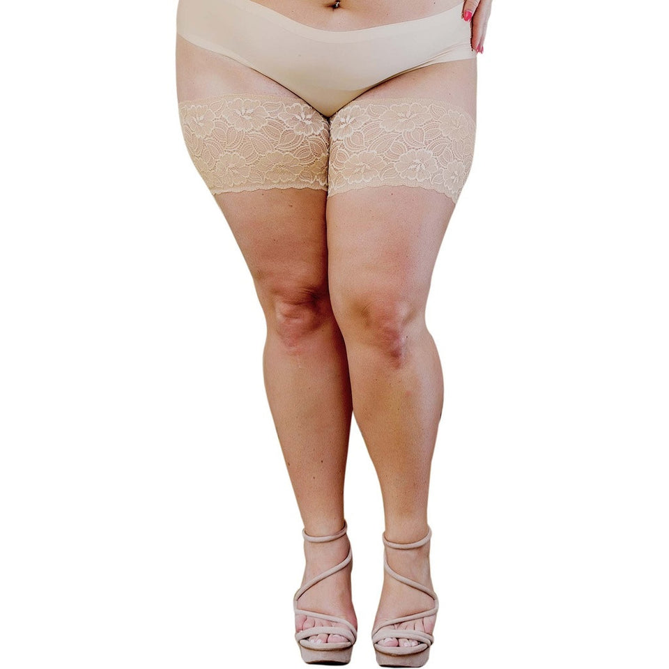 "Bandelettes ONYX BEIGE - Elastic Anti-Chafing Thigh Bands Beige Onyx 5.5"" in length - West Nineties"