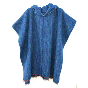 100% Alpaca Poncho in Ocean - West Nineties