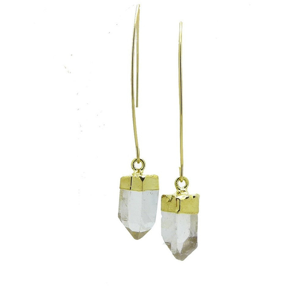 Crystal Quartz Point Earrings - West Nineties