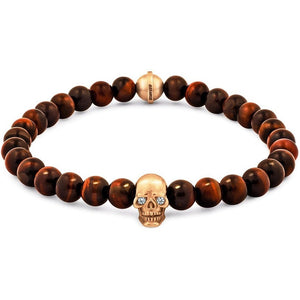 Skull Bracelet in 18K Gold with Diamond Eyes and Red Tiger Eye