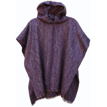 100% Alpaca Poncho in Heather Purple - West Nineties