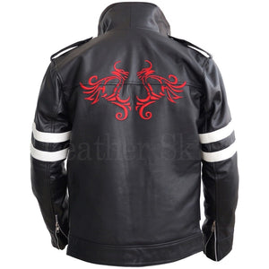 Men Black Embroided Dragon Jacket