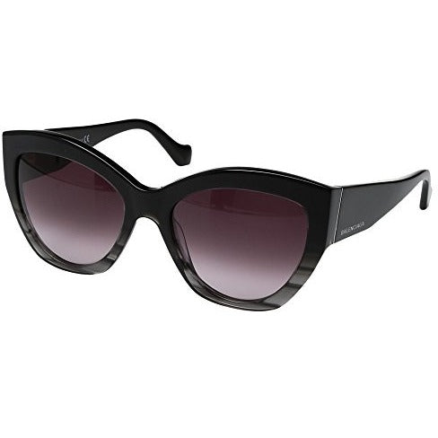 Balenciaga Women's Striped Gradient Black/Opal Black Temple/Light Ruthenium Detailed Sunglasses - West Nineties