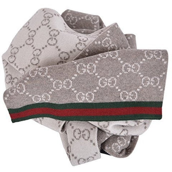 Gucci Men's Taupe Wool Reversible GG Guccissima Red Green Stripe Scarf - West Nineties