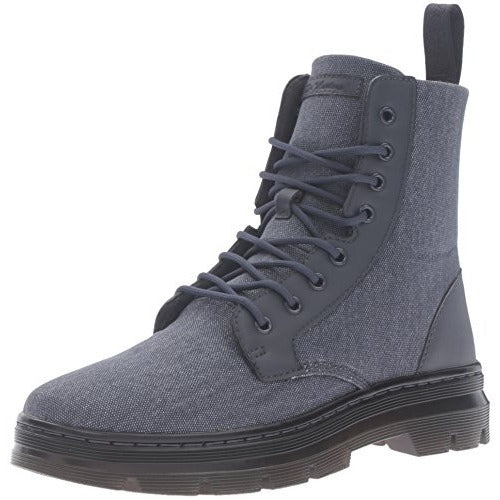 Dr. Martens Men's Combs Washed Canvas Combat Boot, Graphite Grey, 7 UK/8 M US - West Nineties