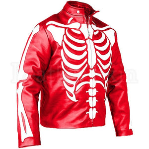Men Red Skeleton Biker Leather Jacket