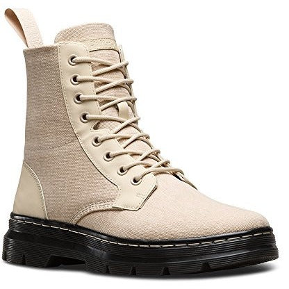 Dr. Martens Men's Combs Washed Canvas Combat Boot, Sand, 4 UK/5 M US - West Nineties