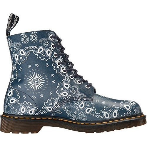Dr. Martens Men's Pascal Bandana Comfort 8 Eye Boots, Blue Leather, 11 M UK, 12 M US - West Nineties