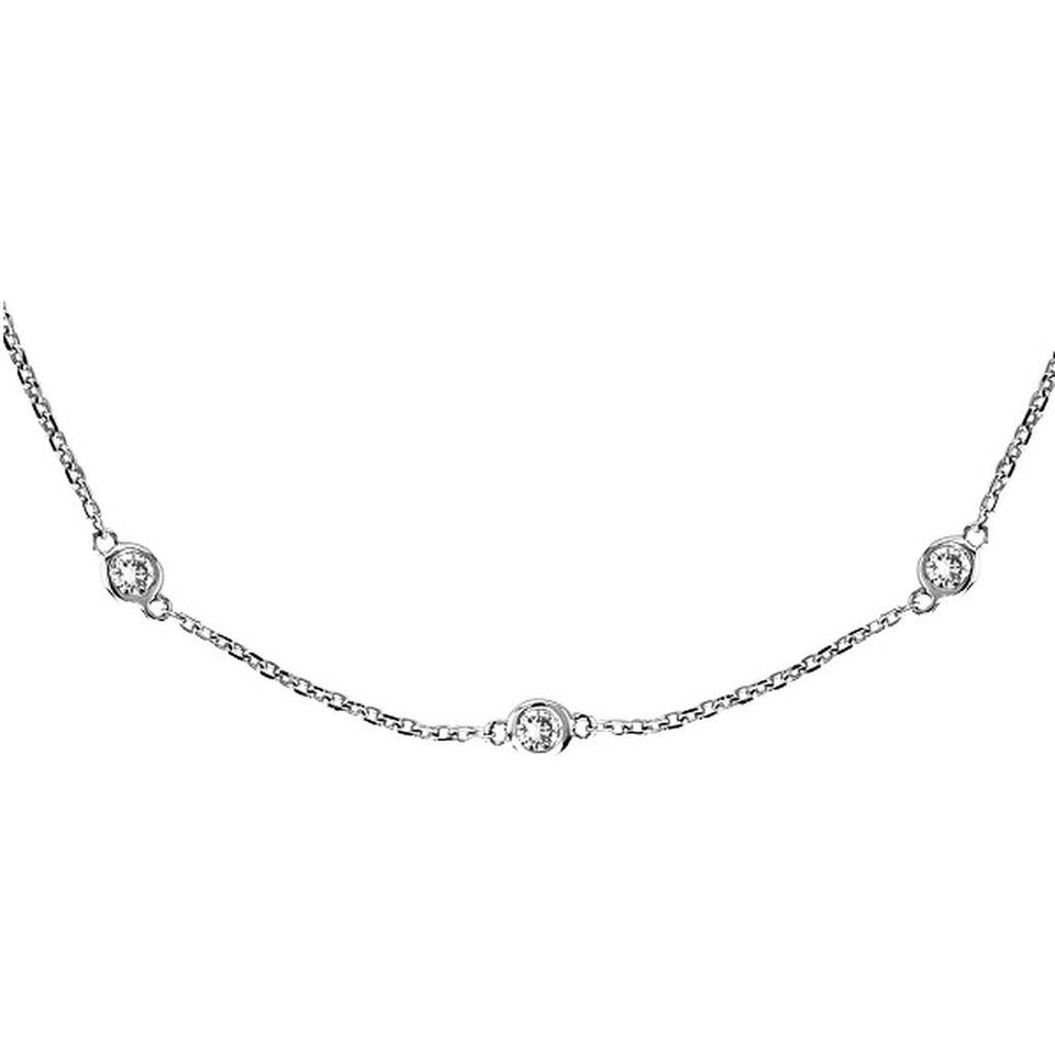 Diamonds by The Yard Bezel-Set Necklace in 14k White Gold (0.50 ctw) - West Nineties