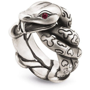 Snake Ring with Rubies in Sterling Silver
