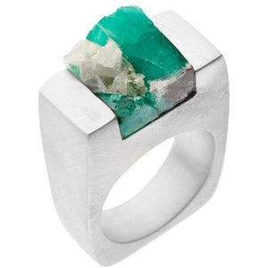 Emerald Silver Ring - West Nineties