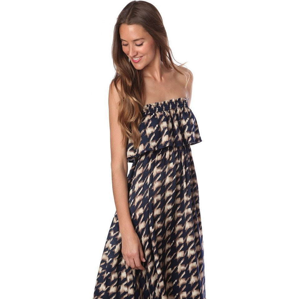BLUE PRINTED BANDEAU MAXI DRESS - West Nineties