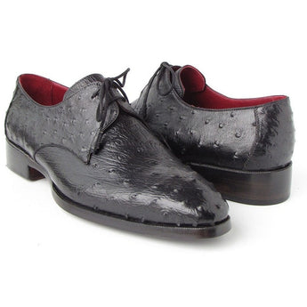 Black Genuine Ostrich Derby Shoes - West Nineties