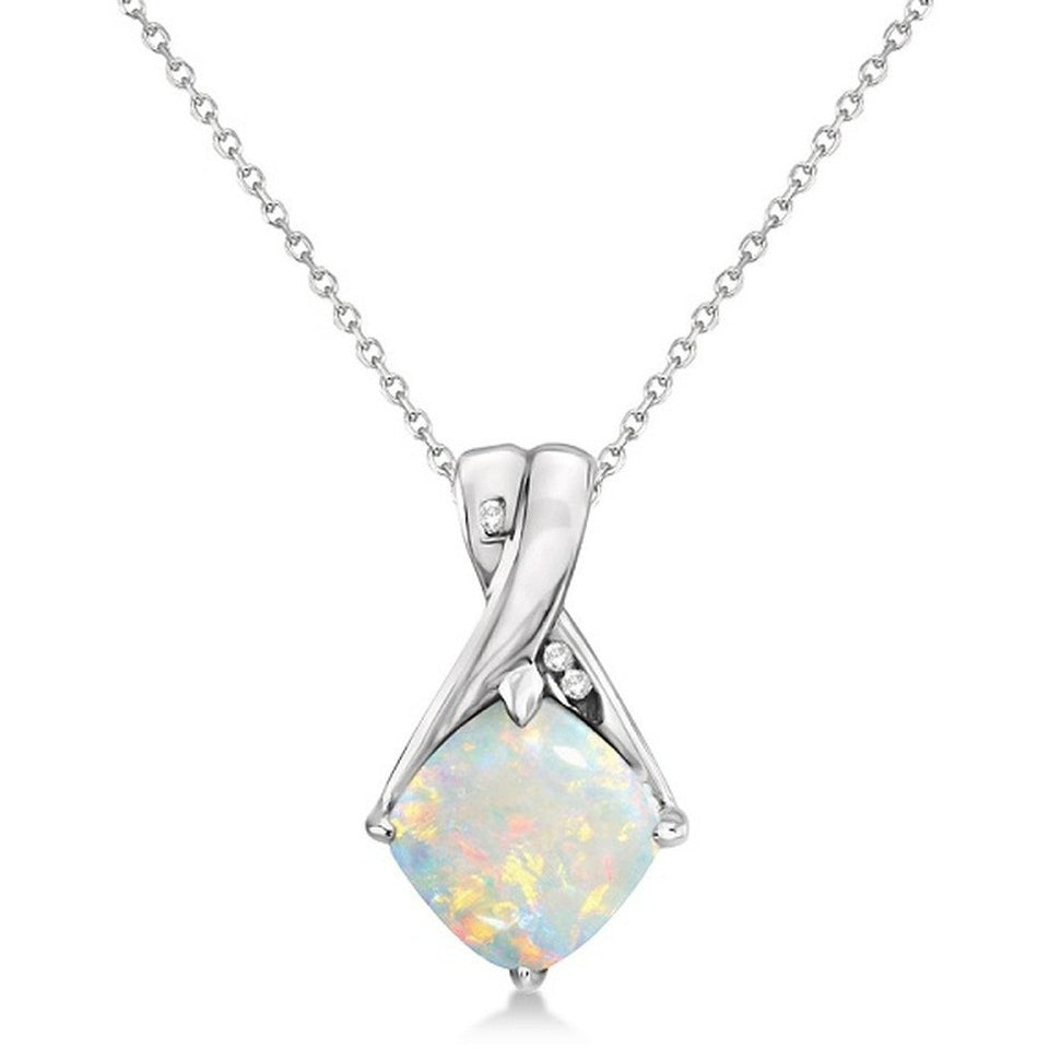 Diamond and Cushion Opal Pendant Necklace 14k White Gold (1.36ct) - West Nineties
