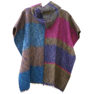 100% Alpaca Poncho in Multi - West Nineties