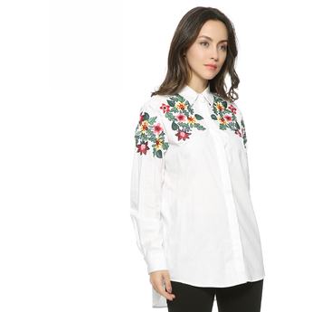 WEST NINETIES LUXE Floral Embroidery Oversized Blouse