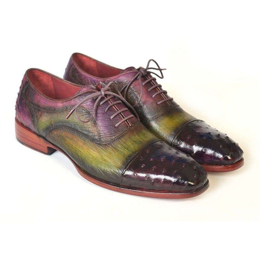Genuine Ostrich Captoe Oxfords Green & Purple - West Nineties