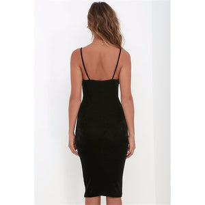 WEST NINETIES LUXE Spaghetti-Strap Velvet Pencil Dress