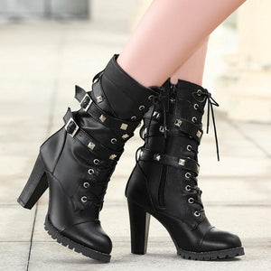WEST NINETIES LUXE High Heel Buckled Platform Boots
