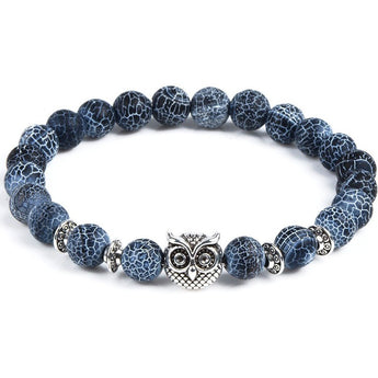 Blue Marble & Silver Owl Bracelet - West Nineties