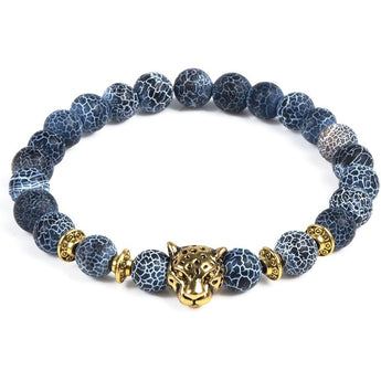 Blue Marble & Gold Tiger Bracelet