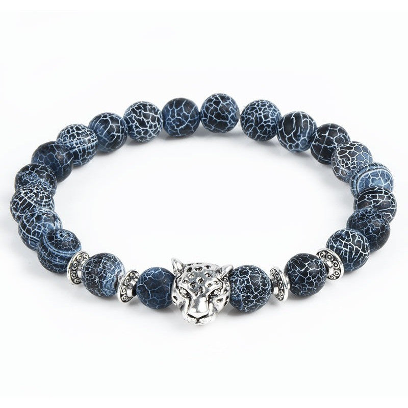 Blue Marble & Silver Tiger Bracelet - West Nineties