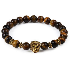 Natural Wood & Gold Lion Bracelet