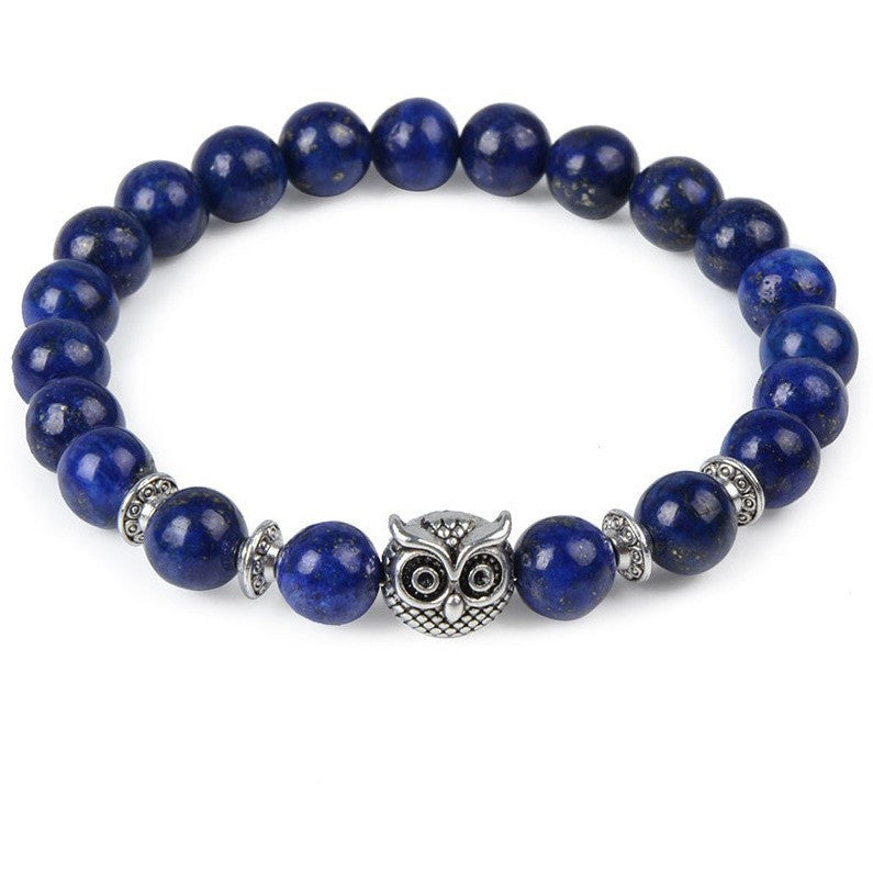 Blue Pearl & Silver Owl Bracelet - West Nineties