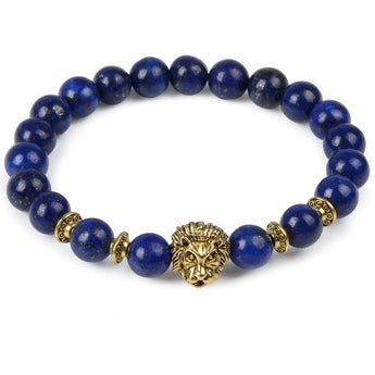 Blue Pearl & Gold Lion Bracelet