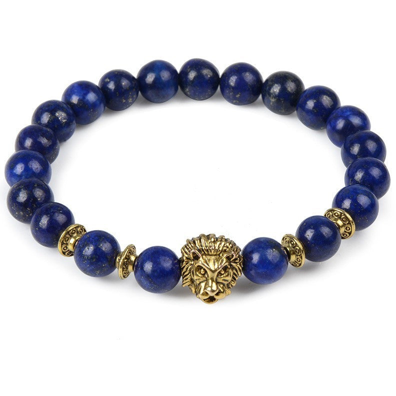 Blue Pearl & Gold Lion Bracelet - West Nineties
