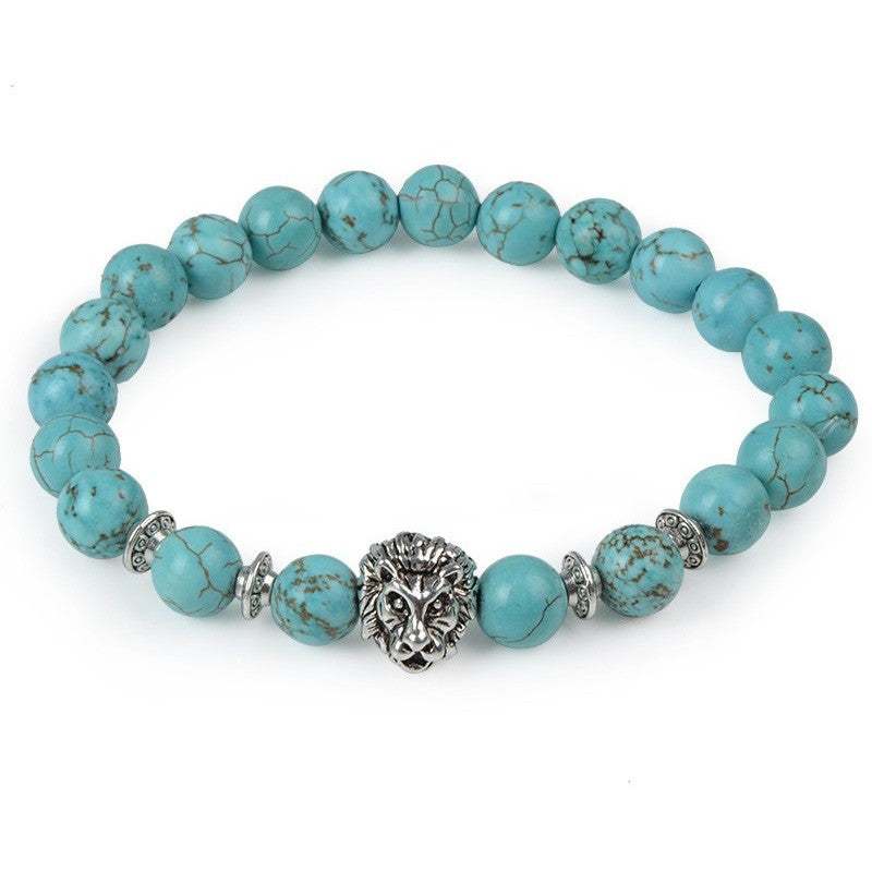 Turquoise Pearl & Silver Lion Bracelet