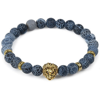 Blue Marble & Gold Lion Bracelet