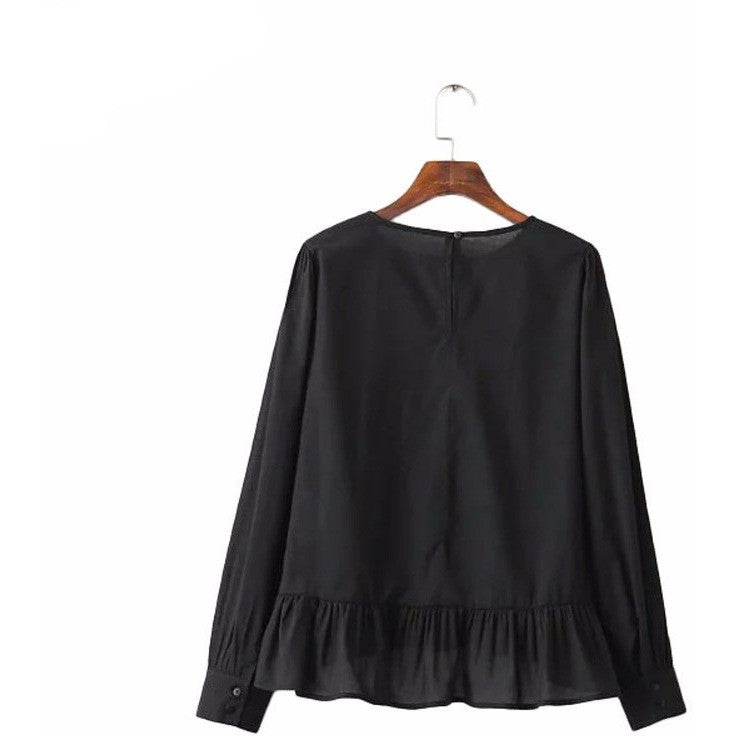 WEST NINETIES LUXE Ruffled Cotton Blouse