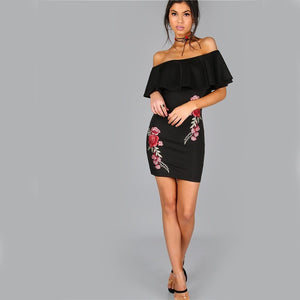 WEST NINETIES LUXE Off Shoulder Embroidery Party Dress