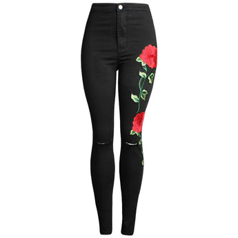 WEST NINETIES LUXE Floral Embroidery Ripped Jeans