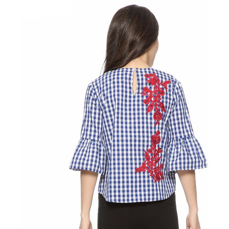 WEST NINETIES LUXE Plaid Embroidery Blouse