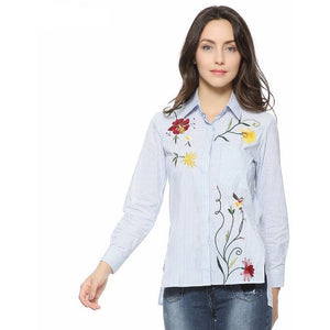 WEST NINETIES LUXE Floral Embroidery Strip Blouse