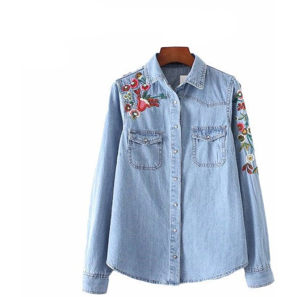 WEST NINETIES LUXE Flower Embroidery Denim Blouse
